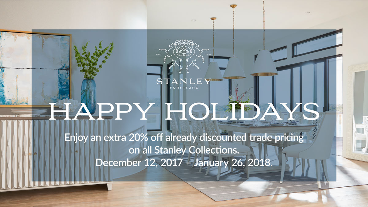 Stanley Holiday Sale on all Stanley Furniture collections