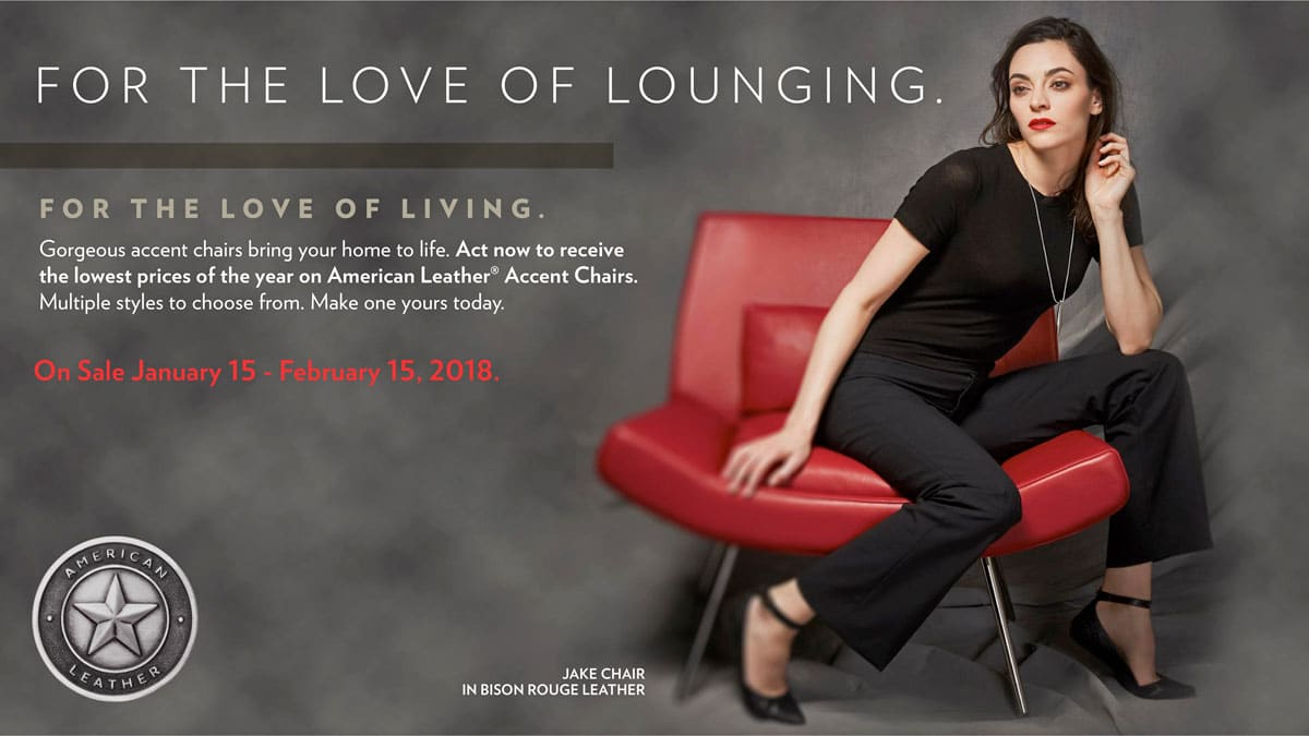 American Leather Accent Chair Sale January 15 - February 15, 2018 at IDS